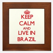 Keep Calm and live in Brazil Framed Tile