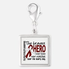 Multiple Myeloma Bravest Hero Silver Square Charm