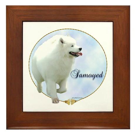 Samoyed Portrait Framed Tile