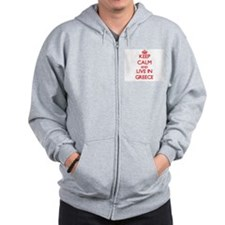 Keep Calm and live in Greece Zip Hoodie