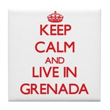 Keep Calm and live in Grenada Tile Coaster