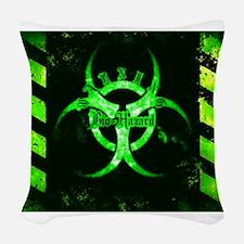 Green Bio-Hazard Woven Throw Pillow