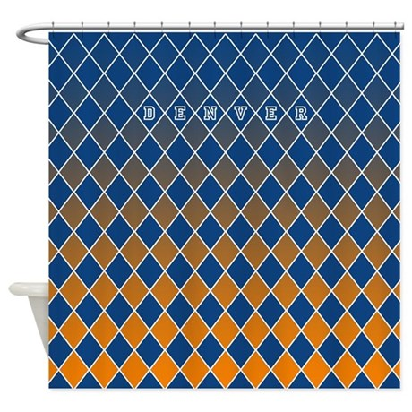 Denver Blue And Orange Shower Curtain By CurtainsForShowers