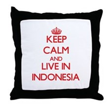 Keep Calm and live in Indonesia Throw Pillow