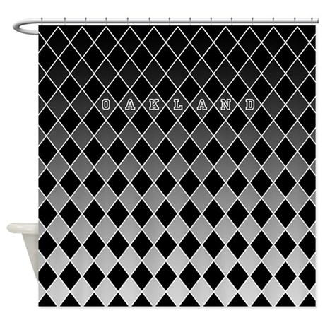 Oakland Silver And Black Shower Curtain By Curtainsforshowers