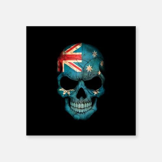 Australian Flag Skull on Black Sticker