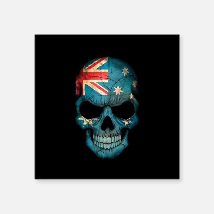 Australian Flag Skull on Black Sticker