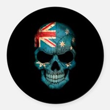 Australian Flag Skull on Black Round Car Magnet