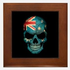 Australian Flag Skull on Black Framed Tile