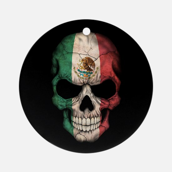 Mexican Flag Skull on Black Ornament (Round)
