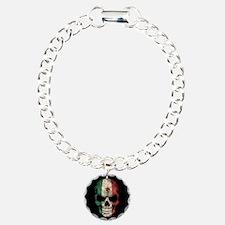 Mexican Flag Skull on Black Bracelet
