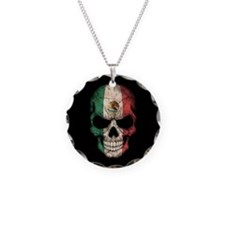 Mexican Flag Skull on Black Necklace