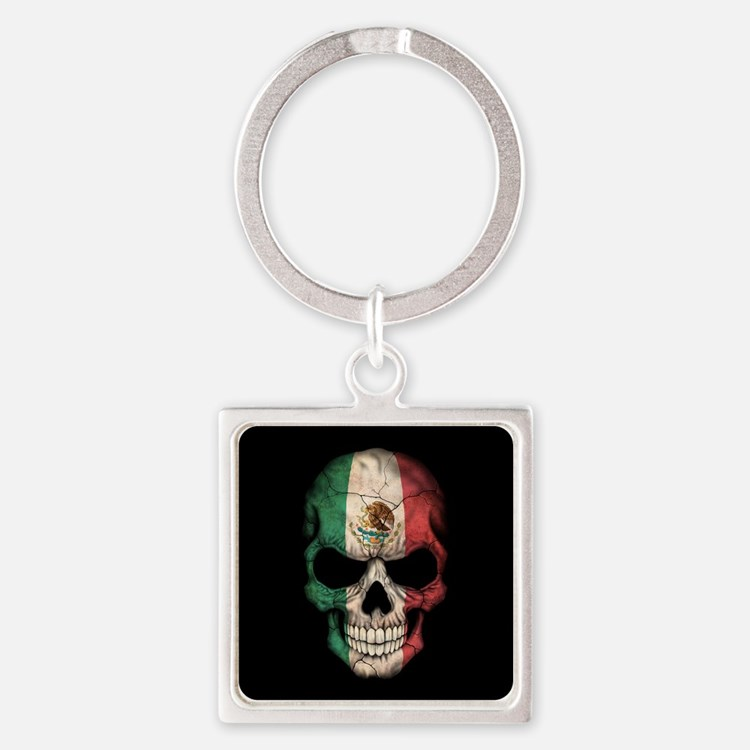 Mexican Flag Skull on Black Keychains