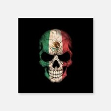 Mexican Flag Skull on Black Sticker