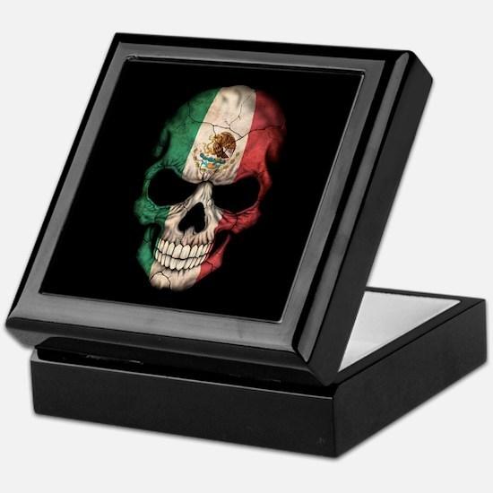 Mexican Flag Skull on Black Keepsake Box