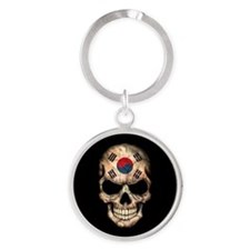 South Korean Flag Skull on Black Keychains