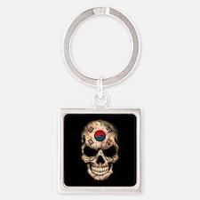 South Korean Flag Skull on Black Keychains