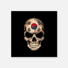 South Korean Flag Skull on Black Sticker