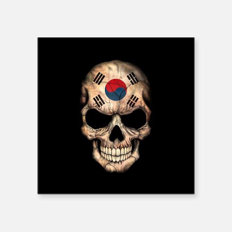 South Korean Flag Skull on Black Sticker