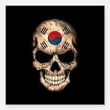 South Korean Flag Skull on Black Square Car Magnet