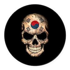 South Korean Flag Skull on Black Round Car Magnet