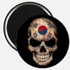 South Korean Flag Skull on Black Magnets