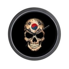 South Korean Flag Skull on Black Wall Clock