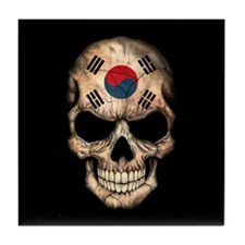 South Korean Flag Skull on Black Tile Coaster