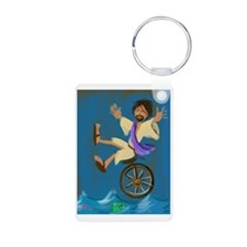 Jesus on a unicycle Keychains