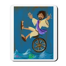 Jesus on a unicycle Mousepad