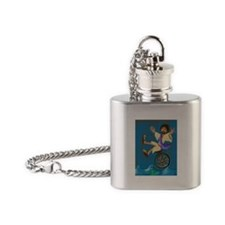 Jesus on a unicycle Flask Necklace