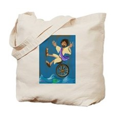Jesus on a unicycle Tote Bag