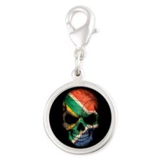 South African Flag Skull on Black Charms