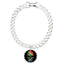 South African Flag Skull on Black Charm Bracelet,