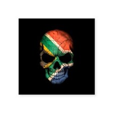 South African Flag Skull on Black Sticker