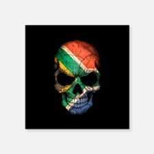 South African Flag Skull on Black Sticker