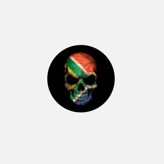 South African Flag Skull on Black Mini Button