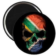 South African Flag Skull on Black Magnets