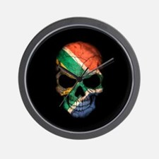 South African Flag Skull on Black Wall Clock
