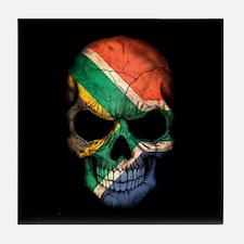South African Flag Skull on Black Tile Coaster