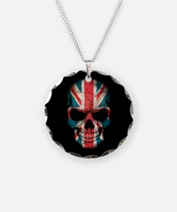 British Flag Skull on Black Necklace