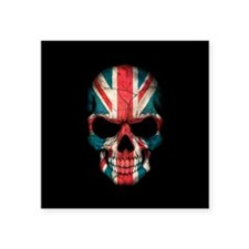 British Flag Skull on Black Sticker