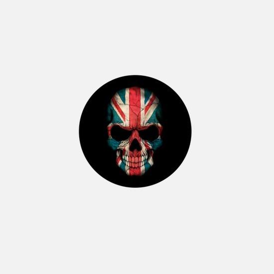 British Flag Skull on Black Mini Button