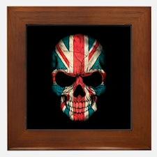 British Flag Skull on Black Framed Tile