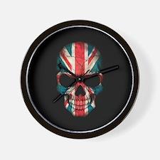 British Flag Skull on Black Wall Clock