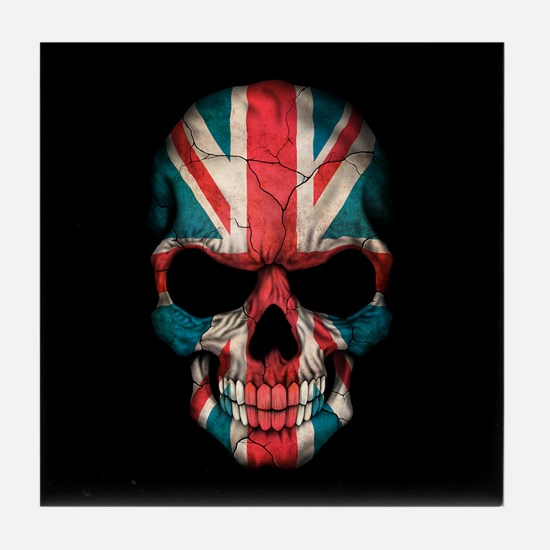 British Flag Skull on Black Tile Coaster