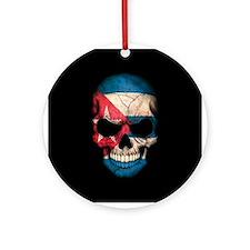 Cuban Flag Skull on Black Ornament (Round)