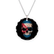 Cuban Flag Skull on Black Necklace