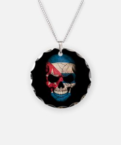 Cuban Flag Skull on Black Necklace