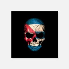 Cuban Flag Skull on Black Sticker